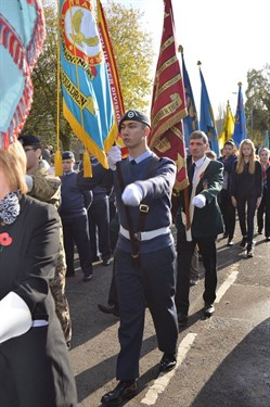 422 (Corby) Squadron banner in Remembrance Sunday parade 2014
