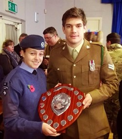 Cdt Hannah Eden collecting the RBL Trophy