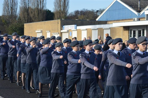 Corby Air Cadets march to the war memorial
