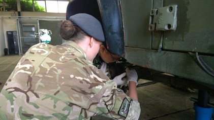 Corby Air Cadets Working On Vehicle