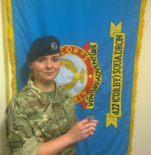 Cpl Pavitt with her Air Cadet Leadership Course Badge