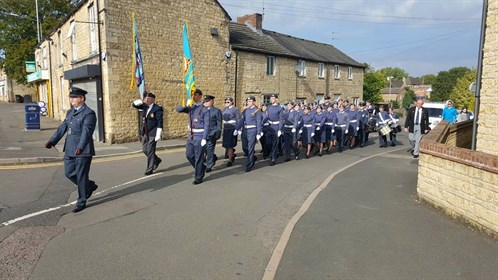 Corby Air Cadets parade through the Village for the 75th Anniversary of the Battle of Britain