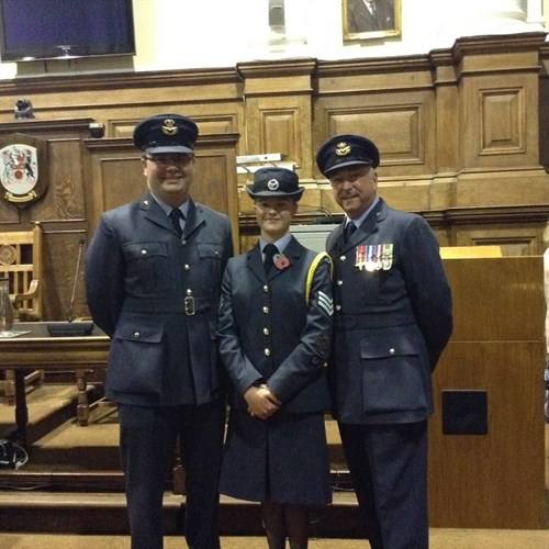 Sgt Emma Beadsworth with her Squadron Commander and Wing Commander