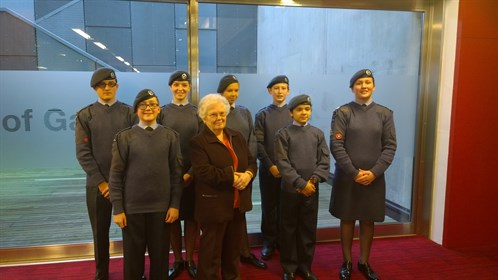 Corby Air Cadets meet with Joanna Millan at the Holocaust Memorial Day Service