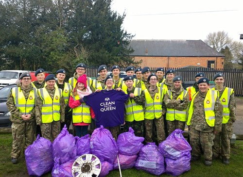 Corby Air Cadets with their litter haul from Clean for The Queen