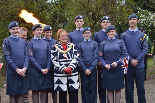 Corby Air Cadets with the Deputy Mayor at the Beacon Lighting Ceremony
