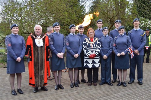 Corby Air Cadets with the Mayor and Deputy Mayor at the Beacon Lighting Ceremony