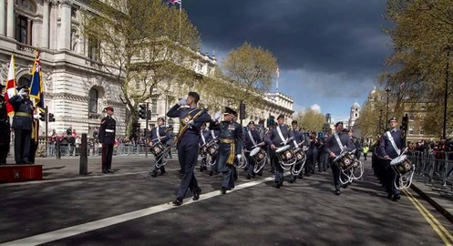 Cpl Hannah Eden with the ACO National Marching Band at The Cenotaph