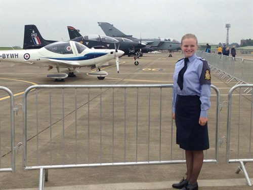 Sgt Kamila Bell on RAF Wittering's flight line