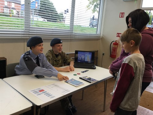 Corby Air Cadet talking to new recruits about syllabus training