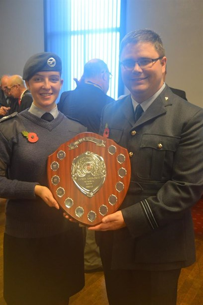 Flt Lt Ritchie And Cpl Bristow With The Trophy
