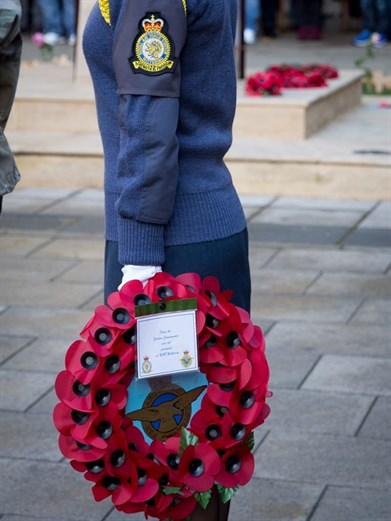 Sgt Kamila Bell Wreath Bearer for Wittering Station Commander