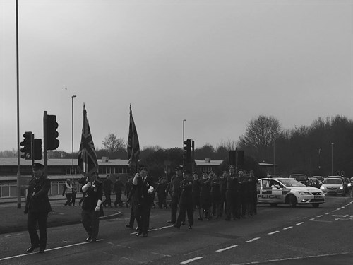 Corby Air Cadets march down Oakley Road on ATC Sunday 2017